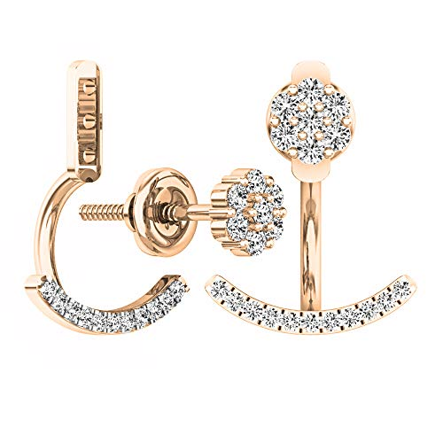 Dazzlingrock Collection 0.25 Carat (ctw) 14K Round White Diamond Pendulum Stud Earring Jackets 1/4 CT, Rose Gold ()