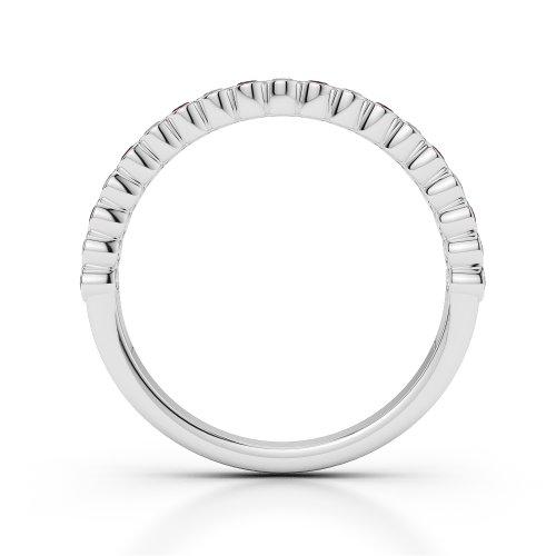 Or blanc 18carats 0,38CT G-H/VS Certifié Coupe ronde Rubis et diamants Agdr-1101