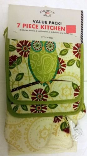 The Pecan Man Home Collection GREEN OWL Everyday Kitchen Set of 7 2 POT HOLDERS, 1 OVEN MITT,2 DISHCLOTHS & 2 TOWELS