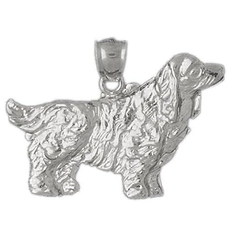 CleverEve 14K White Gold Pendant Cocker Spaniel Dog 4.4 Grams