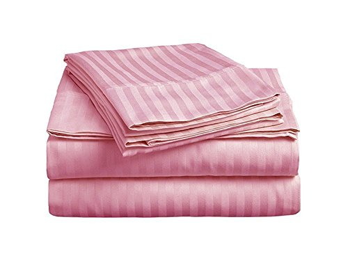 Nile Bedding Collection Luxury Hotel Bed Sheets Egyptian Cotton 600 TC 6-PCs Sheet Set 15 Inches Deep Pocket Light Pink Striped Full Size (1 Fitted sheet,1 Flat Sheet & 4 Pillowcover) - Supima Cotton 600 Tc Stripe
