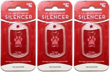 Quick-Tag New Glow in the Dark Dog Tag Silencers (Military Tag Shape, Large/3 Silencers)