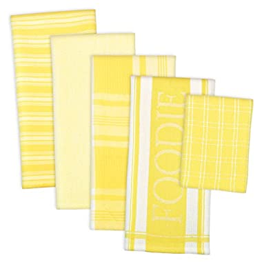 DII 100% Cotton, Ultra Absorbent,  Washing, Drying, Foodie Kitchen Dishtowel 18 x 28  & Dishcloth 13 x 13 ,  Set of 5-  Yellow