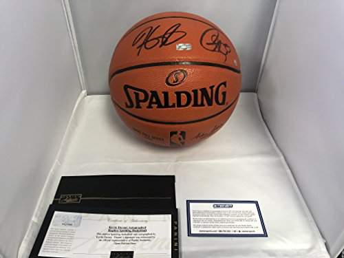 Stephen Curry & Kevin Durant DUAL Autographed Signed Golden State Warriors Game Black Basketball Panini Authentic COA & Steiner Sports Certified (Basketball Signed)