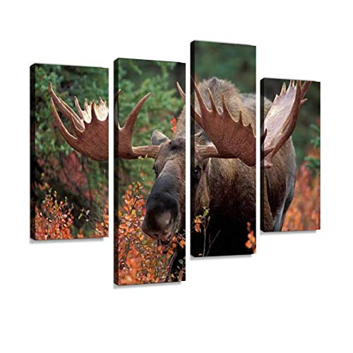 Bull Moose Canvas Wall Art Hanging Paintings Modern Artwork Abstract Picture Prints Home Decoration Gift Unique Designed Framed 4 Panel (Wall Moose Hanging)