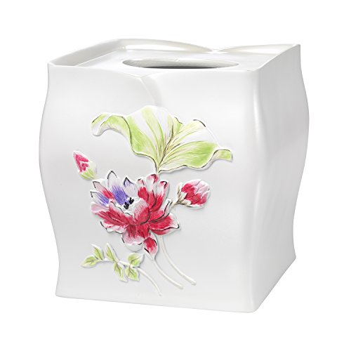 Popular Home The Flower Haven Collection Tissue Box, Pink (Pink Tissue Box)