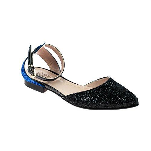 Chiara Ferragni Damen Sandale Leder Schwarz Blau Glitzer