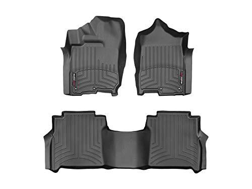 WeatherTech Custom Fit FloorLiner for Titan/Titan XD - 1st & 2nd Row (Black) (Floor Mats For Nissan Titan)
