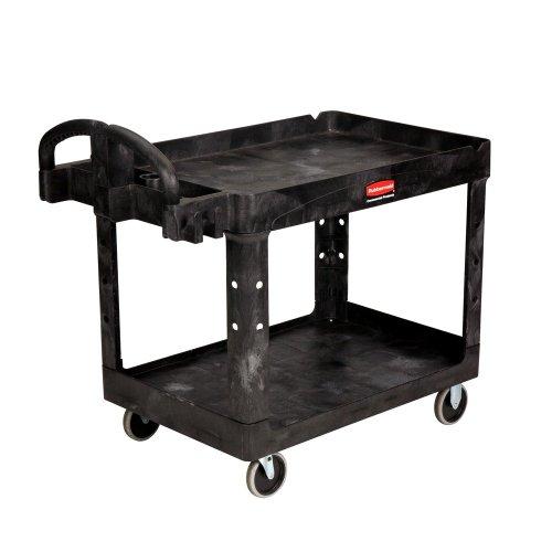 Rubbermaid FG452088BLA Commercial Heavy-Duty 2 Shelf Utility Cart, Lipped Shelves, Medium, Black, 500 Pound Capacity by Rubbermaid Commercial Products (Image #1)