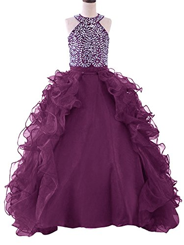 WZY Girls Crystal Beaded Ruffled Party Christmas Ball Gown Princess Pageant Dress (14, 1-Grape) by WZY
