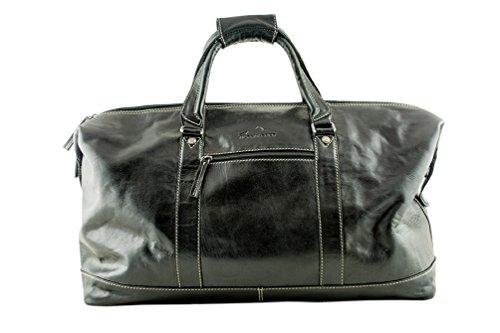 ALPENLEDER Leather Weekend Bag ALABAMA - Design Award Winning Travel Duffel Bags - Weekender Bag for Men - Black by ALPENLEDER