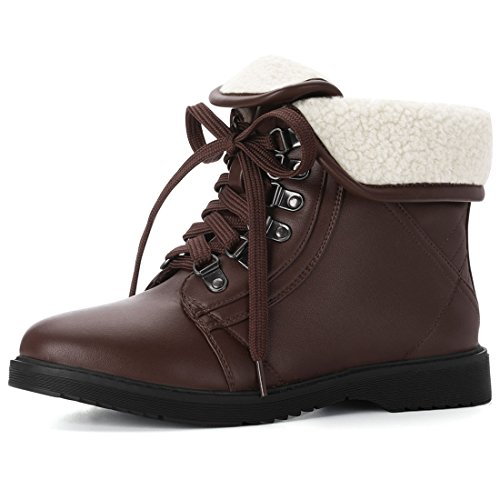 e9745789bfb0 Jual Allegra K Women s Plush Winter Ankle Lace Up Combat Snow Boots ...