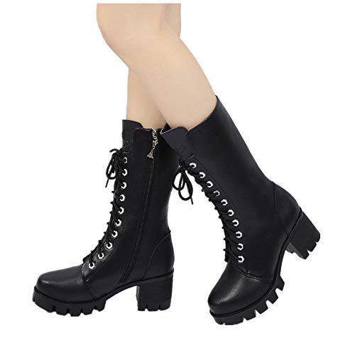 Women Chunky Heels Boots Plush Lace-Off Non-Slip Waterproof Mid-Half Boots Martin Boots Ladies Autumn Spring Winter -