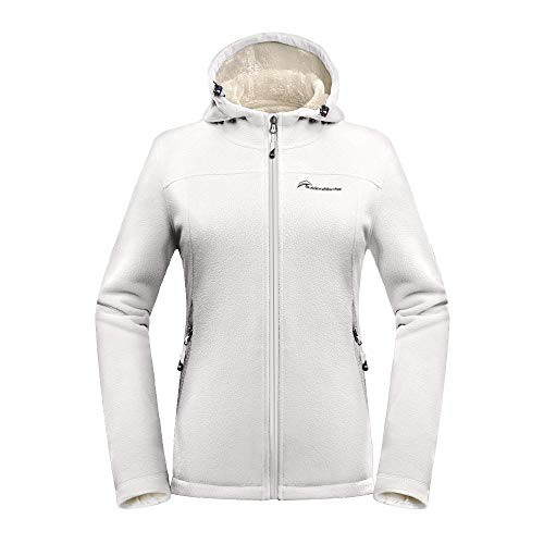 OutdoorMaster Women's Fleece Jacket - Waterproof & Stain Repellent, Ultra Soft Plush Lining & Optional Hoodie - Full-Zip (Off White ()