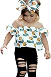 SUPEYA Baby Girls Off Shoulder Short Sleeve Packers Print Top+ +Hole Pants+Headband