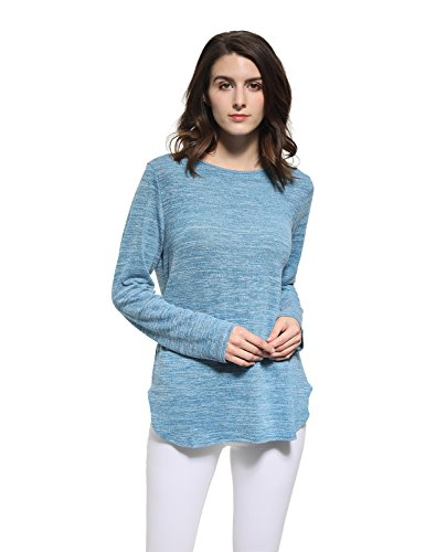 Blooming Jelly Women's Solid O Neck Long Sleeve T Shirt Casual Knit Tops Blouse Pullover Sweater (L, Blue) (Boatneck Solid)