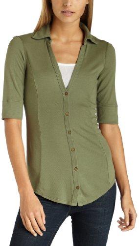Three Dots Women's Cotton Modal Button Down Shirt,Hunter,X-Small