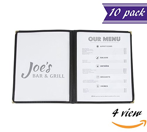 (10 Pack) Double Fold Panels Menu Covers, Black, 8.5 x 11-inches Insert , Restaurant Menu Holders with Double Stitched Binding and Protective Corners