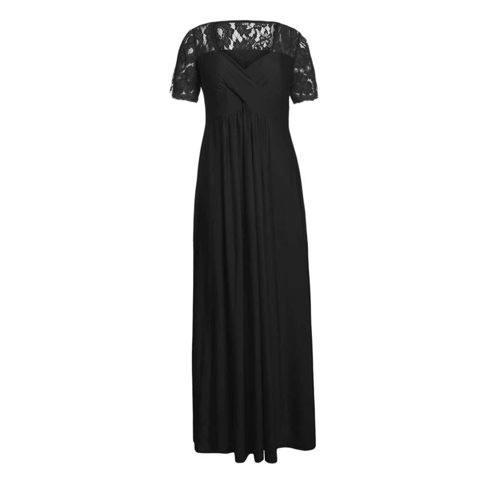 ad0ea65f36e3 Vestidos Maxi Negros para Mujer Tallas Grandes Escote Lacey Manga Corta  Abrigo Vestidos de Noche