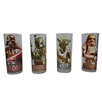 Silver Buffalo SW031T1 Star Wars Characters with Names Glass Tumbler Set ( 4-Piece Set), 10 oz., Clear