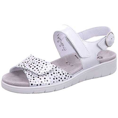 Weiss 101 White Sandals Ankle Black Strap Semler Women's Dunja silber zBxqPw6v60