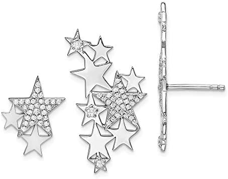 FB Jewels Solid Sterling Silver RhodiumPlated CZ Cubic Zirconia Star Left Right Earrings