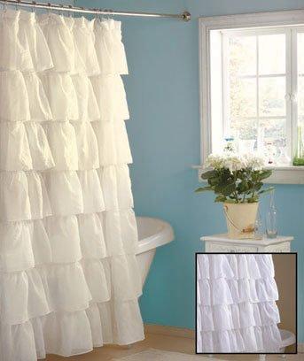 Shabby Country Ruffled White Shower Curtain