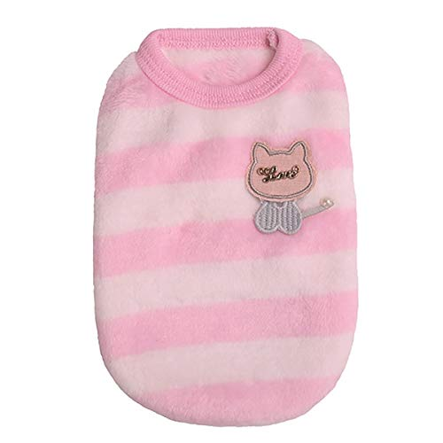 Mini Puppy Vest Cartoon Spring Pet Teacup Dog Clothes Soft Warm Sleeveless T-Shirt Pullover for Small Doggie Cat Apparel (Pink, XS)