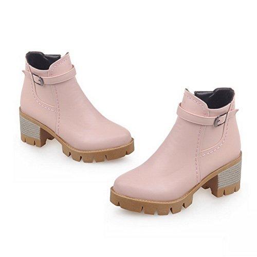 VogueZone009 Damen Mittler Absatz Rein Rund Zehe Weiches Material Reißverschluss Stiefel, Pink, 36