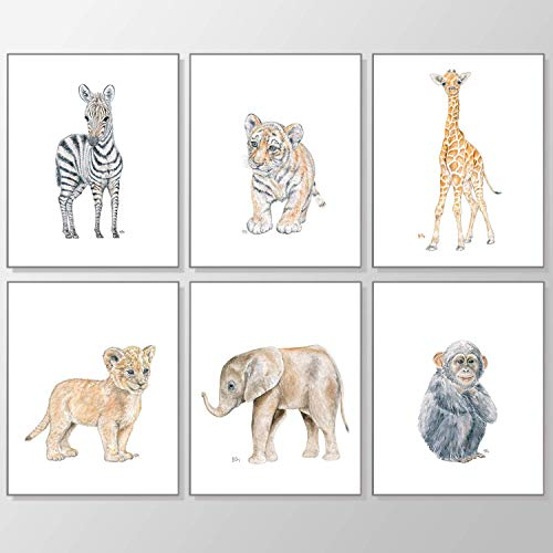 Safari Nursery Prints Set of 6 Unframed Pick Your Baby Animals Size and Orientation Original Watercolor Art Signed by Artist