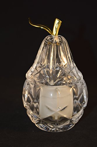 (Gorham Lady Anne Crystal Pear Votive with Tealight, 4.75
