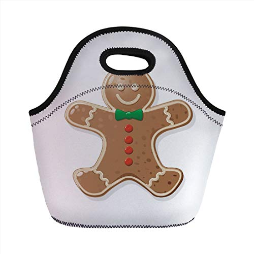 Portable Lunch Bag,Gingerbread Man,Iconic Seasonal Baked Pastry Sugary Treats for Kids Joyous Fun Xmas Decorative,Caramel Red Green,for Kids Adult Thermal Insulated Tote Bags