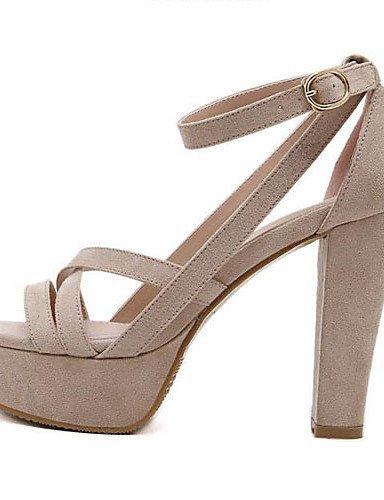 ShangYi Women's Shoes Fleece Chunky Heel Open Toe Sandals Dress / Casual Black / Almond Black ime6ml