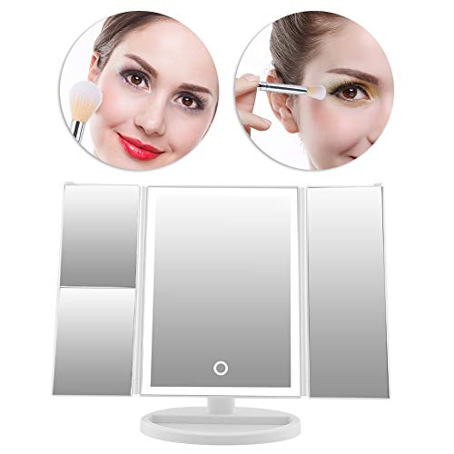 Dresser Triple Vanity - 38 Led Makeup Vanity Mirror with Lights,1x/2x/3x Magnification, Touch Screen Switch 180 Degree RotationDual Power Supply Portable Trifold (White)