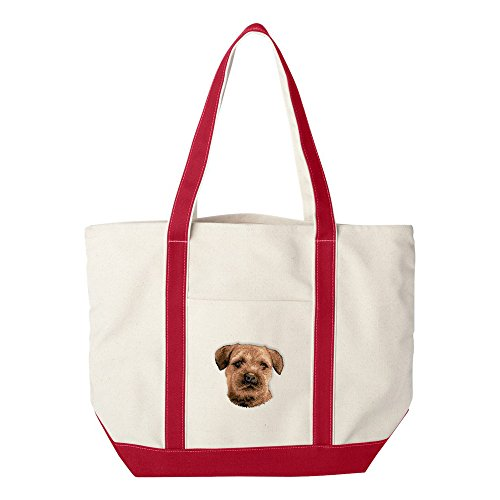 (Cherrybrook Dog Breed Embroidered Canvas Tote Bags - Red - Border Terrier)