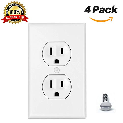 Standard Outlet Covers Duplex Outlet Cover 1-Gang Wall Plate Power Wall Outlet Cover Plate Standard Size Thermoplastic Nylon Device Mount Wallplate, White (4 Pack) (Nylon Outlet Duplex Covers)