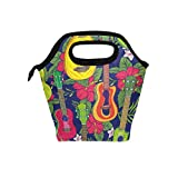 My Daily Lunch Box Pop Colorful Hawaiian Fruity Ukulele Flower Reusable Insulated School Lunch Bag for Women Kids