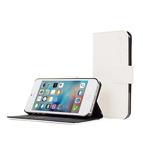 iPhone 5 / 5s Case, Snugg - Leather Wallet Cover Case with (White) for Apple iPhone 5 / 5s
