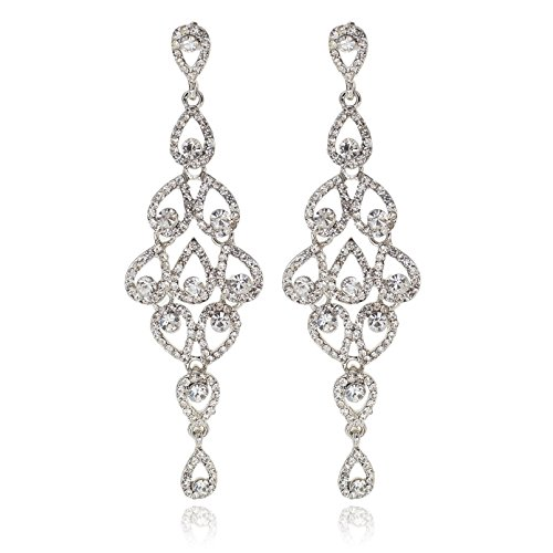Crystal Chandelier Rhinestone Earrings (Janefashions Drops Austrian Crystal Rhinestone Silver Chandelier Dangle Earrings Bridal E2088S White)