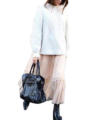 Mujer Adultos Largo Tutu Falda Tul Talle Alto Enaguas para Disfraz Halloween Albaricoque