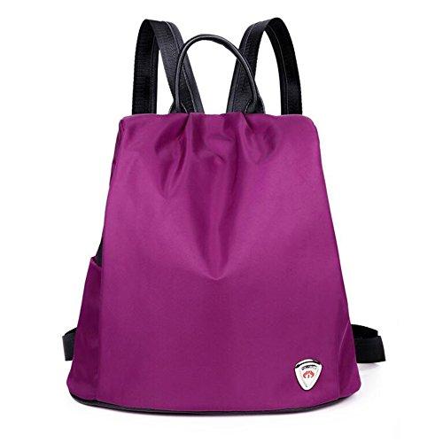 QIDI Mochila Impermeable Viaje Ocio Viaje Oxford Spinning 32 * 32 * 16cm (Color : Black) Purple
