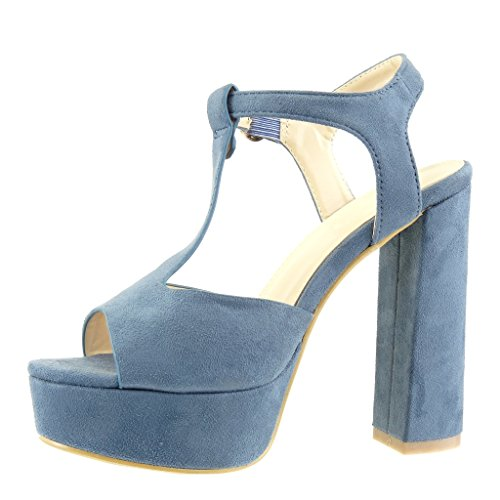 Angkorly - Scarpe da Moda scarpe decollete cinturino zeppe donna tanga Tacco a blocco tacco alto 13 CM - Blu
