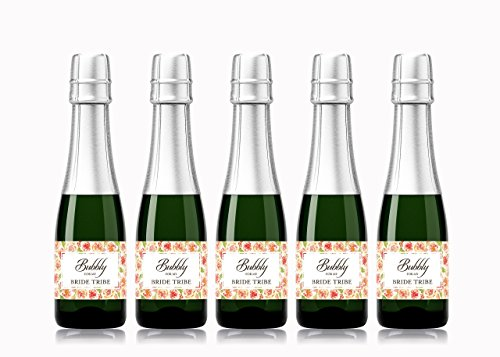 BRIDE TRIBE, BUBBLY for My Bride Tribe  SET of 12  Bachelorette Party Mini Wine Labels, Bride Squad, Brides Babes, Bridal Shower Wedding Mini Champagne Labels, WEATHERPROOF WATERPROOF A145-12BT