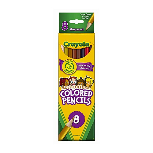 Crayola Multicultural Colored Pencils, 8 Assorted Skin Tone -