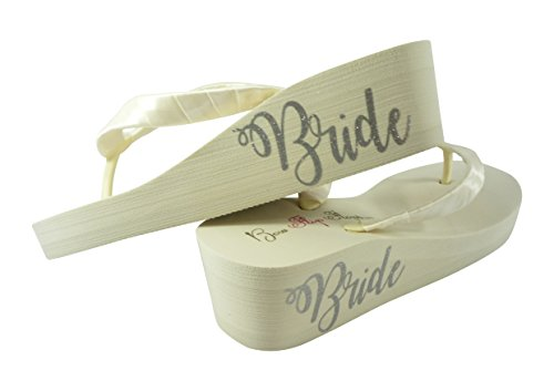 Pick your colors and Heel - Bride on side of Wedge Wedding Flip Flops
