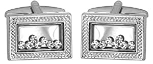 Crystals loose in rectangle frame - Rhodium plate Cufflinks. A Great pair of cufflinks/Tie Clip or Othet Accessory… The perfect Gift for some one special.