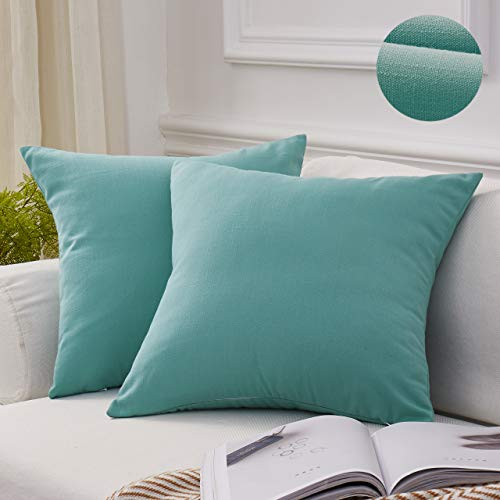 MoMA Decorative Throw Pillow Covers (Set of 2) - Linen Blend Pillow Cover Sham Cushion Cover - Throw Pillow Cover - Sofa Throw Pillow Cover - Square Decorative Pillowcase - Cyan Green Blue - 18