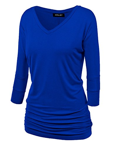 Jersey Black Sleeve Drape Top (Aenlley Womens Boat Neck Dolman Top 3/4 Sleeve Solid Shirring Drape Jersey Tops Color Black Color Dark Blue Size S)