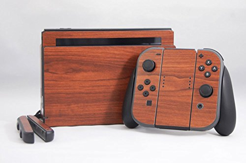 Nintendo Switch Skin – NEW – BURNT WALNUT WOODGRAIN – Air Release vinyl decal console mod kit by System Skins Review