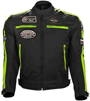 Motorradjacke für Herren Textil Motorrad Dual-Sport Endure Motocross Racing Biker Reiten CE gepanzert wasserdicht Allwetter (S, fluoreszierend grün)